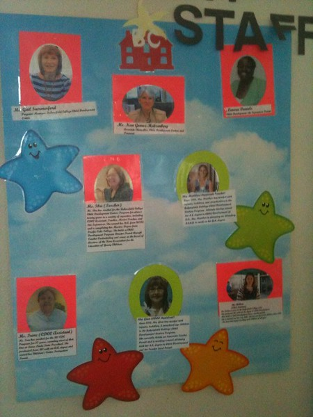 a flyer on the wall recognizes some of our BC staff.