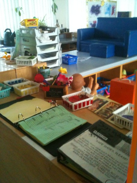 Our sign-in area for the parents is surrounded by toys.