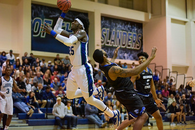Texas A&M-Corpus Christi's Rashawn Thomas drives past a defender in the Second half on March, 15, 2017 at the Dugan Wellness Center in Corpus Christi Texas.
