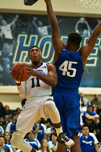 Texas A&m-Corpus Christi's Kareem South fights for a layup in the first half of the CollegeInsider.com quarter finals on Sunday, March, 26, 2017 in the Dugan Health Center