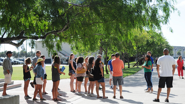 Families are taken for a scheduled tour of the campus by an Islander Ambassador.