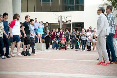 Students, faculty and staff gather to view a performance displayed in front of Bay Hall during 2FIK's visit on campus. More Photos: http://bit.ly/1jx0UBZ