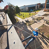 Ryan Kelley(left) with the Islander Batallion assists Leah Barts as she repels down the Center for Science building at TAMU-CC.