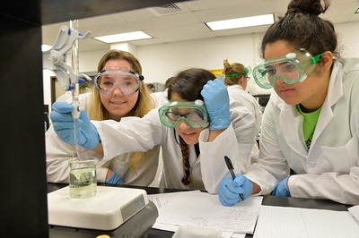 Saphire Herra, Danielle Cusanes and Julia Stoout work together on investigating stoichiometry in General Chemistry I lab.