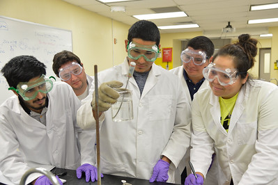 (Left to right) Students Mashau Alshammori, Jacob Funk, David Villarreal, Pedro Martinez and Gabriela Martinez work together on finding molecular mass of unknown liquid.