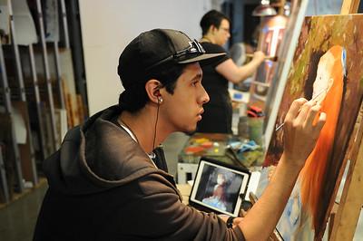 "Randy Salazar working on his master study ""Little Irene"" - Renior."