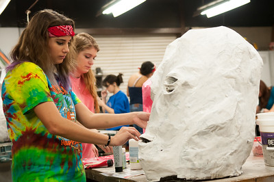 Hannah Stephens works on her sculpture in desgin 2 class.