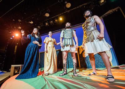"Katia Medizabal ""Hera"" (left) Hallie Auerback ""Athena"", Schuyler Ballew ""Jason"" and Dominic Williamson ""Tiphys"". During their rehearsal for Argonautika, Wednesday October 28, 2015 in the Wilson Theatre."