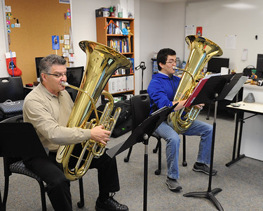 Dan T. Sipes (left) and Sabastian G. Rodriguez during a private lesson in Bay Hall.