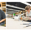 Ashley Diaz(left) and Emily Howard work on their ceramic projects in the Center for Arts building.