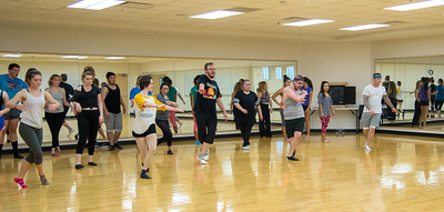 Students have fun while learning different dance steps in Professor Shawnee Bonnette's Jazz I course.