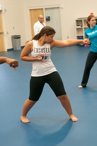 Student Janelle Lopez in stance in karate class in the Dugan Wellness Center