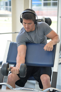 Student Alexander Monte work out in dugan Wellness Center