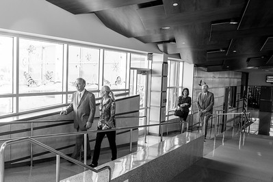 Chancellor John Sharp(far left) and Ms. Kathy Killebrew, make their way to the conference room in the Harte Institute Research facility at TAMUCC.