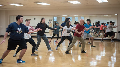 Professor Bystedt leads students in a Tai Chi exercise.
