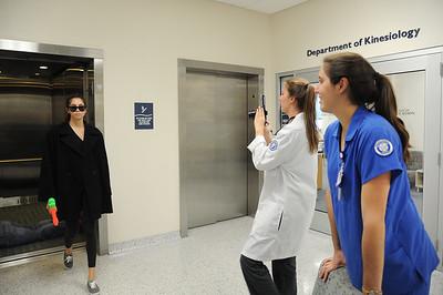 Nursing student Alyssa Opeda(left), Heather Odom and Alyssa Opeda shoot a video for thier Nursing leadership.