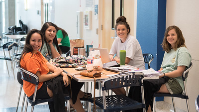 Nursing students collaborate as they study for an upcoming final in the Island Hall.