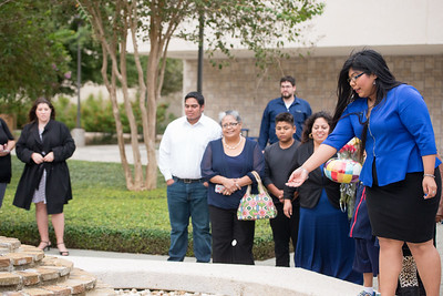 Jasmine Rodriguez tosses her sand dollar as part of the tradition held after Ring Ceremony. MORE PHOTOS: http://bit.ly/1OENEJ1