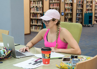 Islander student Chelsey Harle studies for her Physics final in the Mary and Jeff Bell Library.