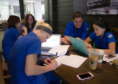 A group of CONHS students gather at the Starbucks Cafe to study for their upcoming clinic practice.