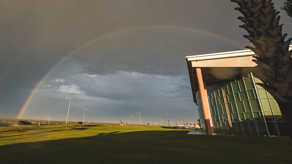 A rainbow appears over campus, minutes after a downpour.