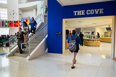 Students make their way to and from lunch, enjoying what The Cove has to offer