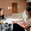 Students Delilah Tovar(left) and Lyndsey Miksch take a break from the busy morning in the Tejas lounge area.