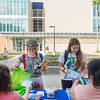 Kallye Harris(left) and Morgan Mills grab flyers and goodies during the first day of class at TAMU-CC.