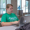 Pre Nursing student Lauren Mehring catching up on homework for A&P in the University Center.
