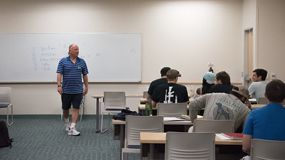 Dr. Lon Seiger prepares his Creative Lifestyle for Wellness class for a group discussion.