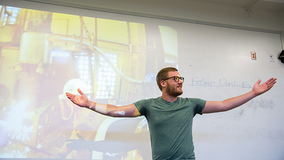 Professor Larson Roeder delivers a lecture in his Art and Society class.