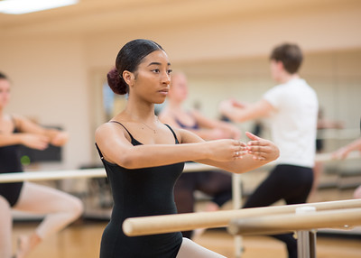 Student Ra'Kayla Jackson focuses on fluid movements during Ballet I.