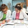 Students Joceline Garcia (Left) and Gigi Martinez in A&P 1 Lab for instructor Dr. Nekovei
