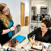 Dr. Cosmina Nicula (left) discuss with student Doina Morales about the operations of an Oscilloscope in a lab session for Digital Systems.