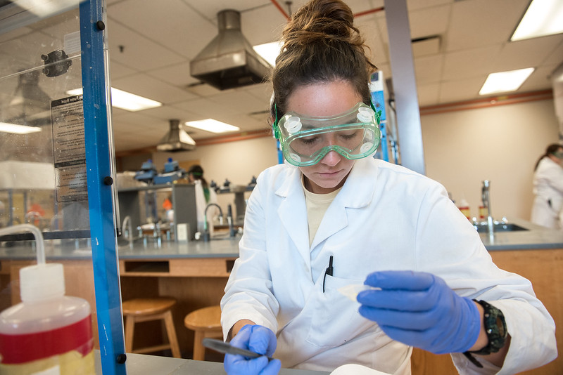 Student Kelly Johnson testing the solubility and recrystallization of different organic substances in her Organic Chemistry Lab by instructor Dr. Marquez Gonzalez.