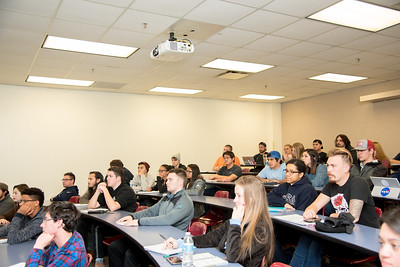 Islander students listen as Dr. Lei Jin goes over the syllabus for Applied Probability and Statistics in the Center for Instruction.