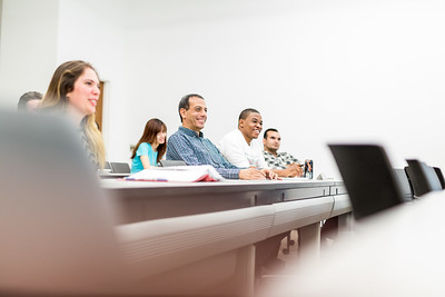 TAMU-CC international student Ahmed Kankil in an MBA business class on campus