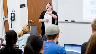 Dr. Katherine Roberto listens to a student's answer to her question about Expectancy Theory in her Concepts of Human Resource Management class.