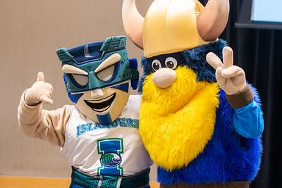 Texas A&M University-Corpus Christi's Izzy the Islander (left), and Del Mar College's Valdar the Viking.