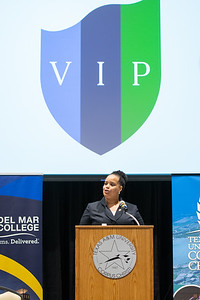 Provost and Vice President for Academic Affairs, Dr. Clarenda Phillips, welcomes guests to the Texas A&M University-Corpus Christi and Del Mar MOA signing ceremony.