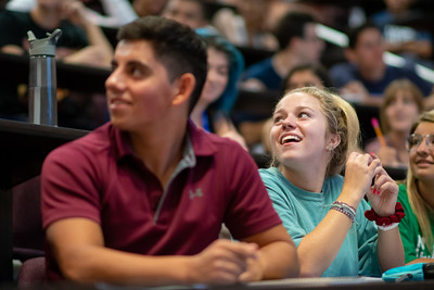 Student Alyssa Watson attends a lecture in the Center for Instruction on the first day of classes.