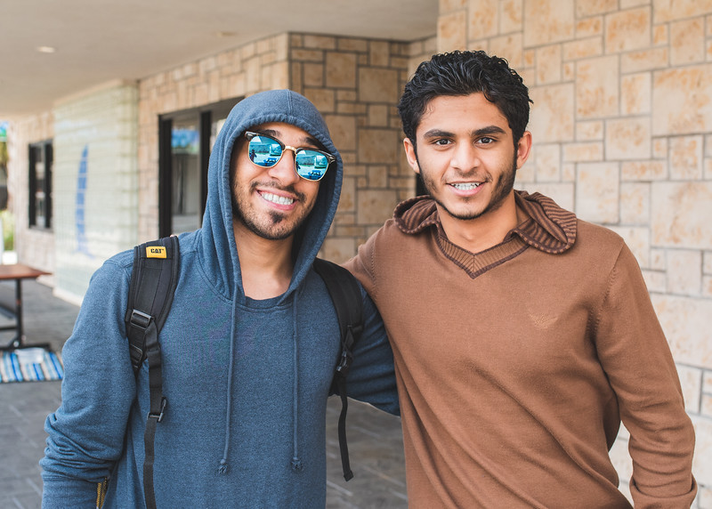 Ahmad Alsaffar and Raed Alsodani pose for our cameras outside of the O'Connor building.