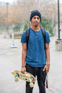 Islander Student Davonne Walther, takes a break before heading to his political science class.