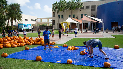 Pumpkin smashing in the Center for Instruction Plaza.