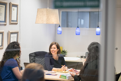 Coastal Bend Business Innovation Center client Melissa Lopez meets with students from the College of Business as they get insight to her business.
