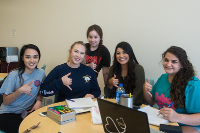 Stephanie Ortiz (left), Haleigh Smith, Daniela Fernadez, Clanissa Conez, and Jeni Watson study together for their summer classes in the O'Connor Building.
