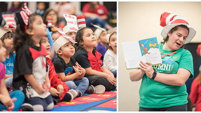 "Rachel Bennett, specialist from the Mary and Jeff Bell Library, reads Dr. Seuss' ""Mr. Brown Can Moo! Can You?"" to Pre-K students at the Early Childhood Development Center during their Dr. Seuss birthday celebration."
