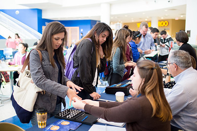 Ruby Tamez (left) as well as other Islanders, inquire about getting an Islander Ring during the Islander Ring Sales event in the University Center Rotunda.  For more information on how to order an Islander Ring: http://bit.ly/2Dxm6T7
