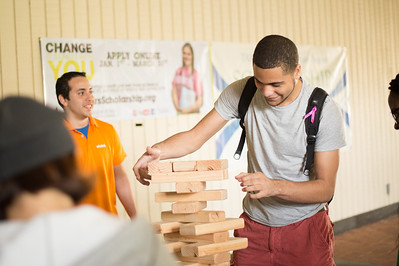 Tevin Williams during a game of Jenga played in the spine at TAMU-CC.