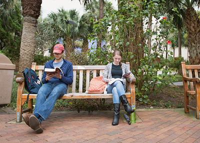 Benjamin Spivey and Tiffany Orvis, catch up on some reading just outside the Court Yard.